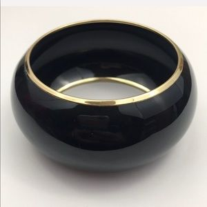 Vintage Black Gold Wide Bangle Bracelet